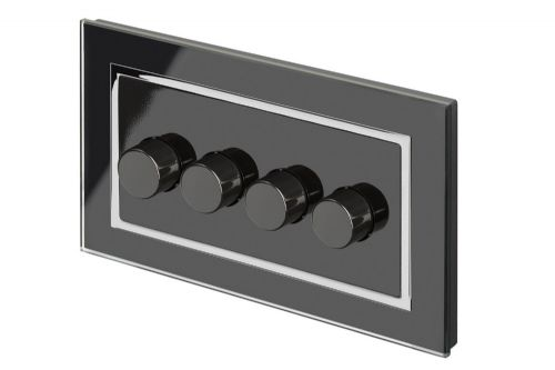 RetroTouch 4 Gang 2 Way Dimmer Switch 3-200W LED & Halogen Black Glass CT 02101